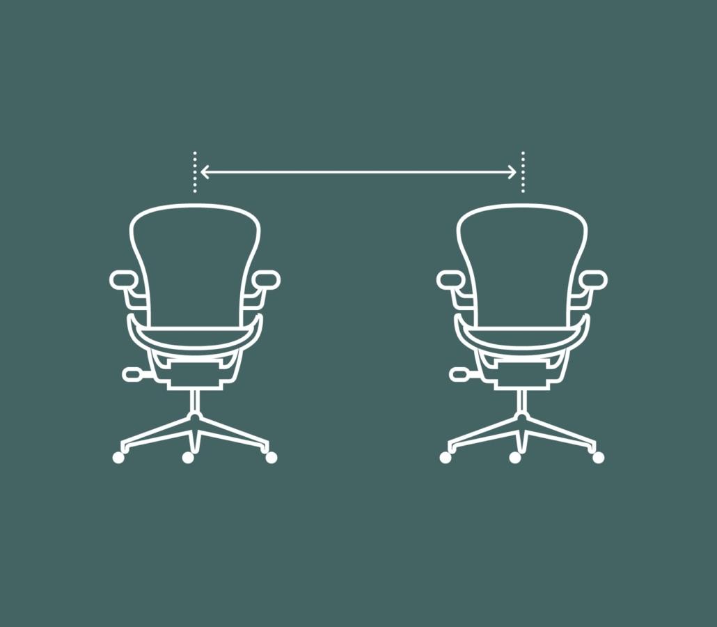 Sillas de trabajo y coronavirus: distancia social en el trabajo